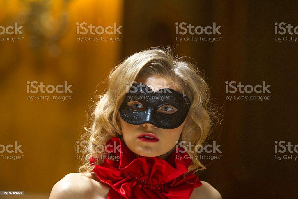 Young ukranian female model posing with face mask lviv ukraine stock photo