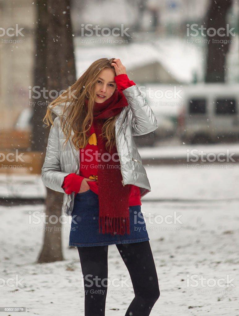 Young ukranian girl model standing at park of lviv ukraine stock photo