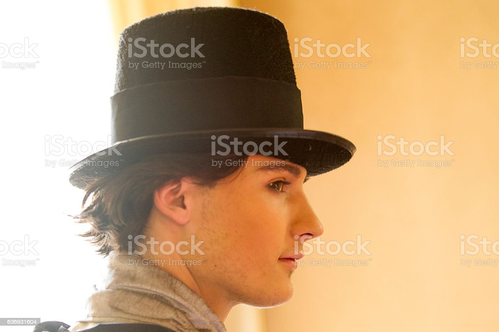 Young ukranian male model posing with costume at lviv ukraine stock photo