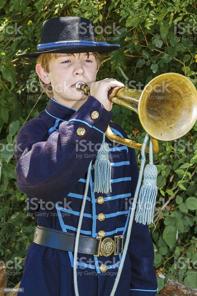 Young Union Soldier With His Bugle stock photo