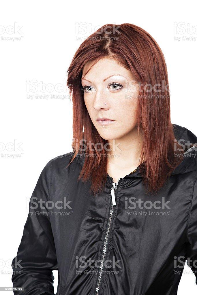 Young Urban pensive redhead woman stock photo