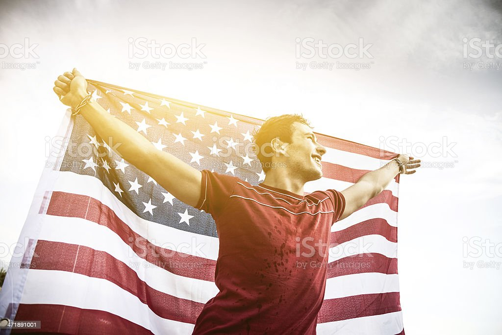 Young USA athlete wins the competition royalty-free stock photo