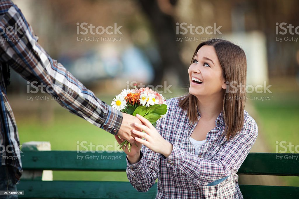 Young valentines on a date stock photo