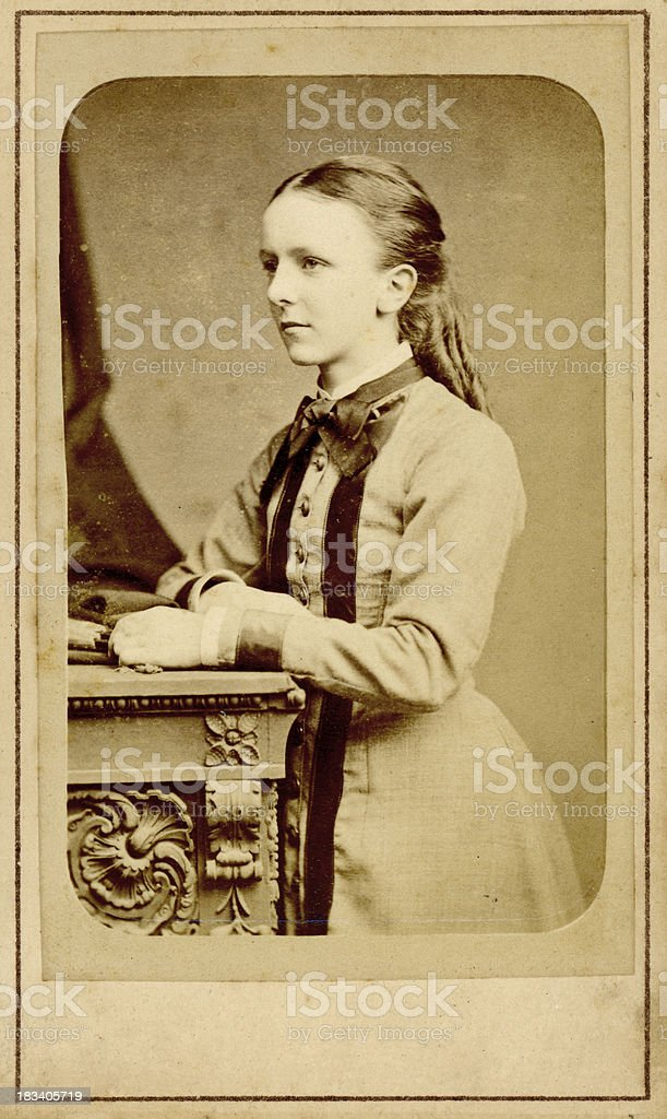 Young Victorian Girl Old Photograph royalty-free stock photo