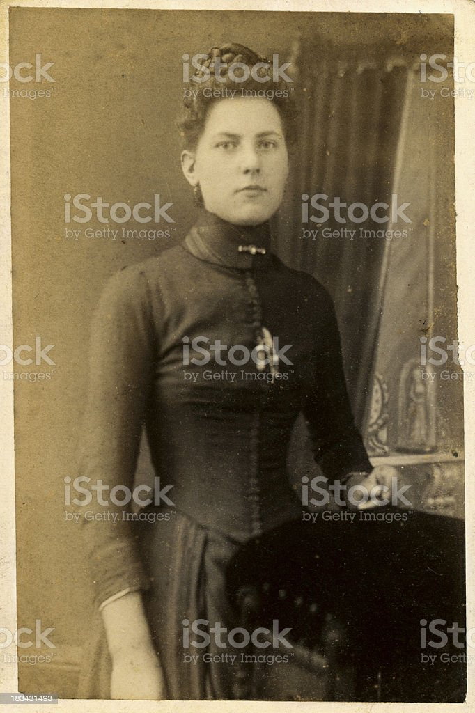 Young Victorian Woman Old Photograph royalty-free stock photo