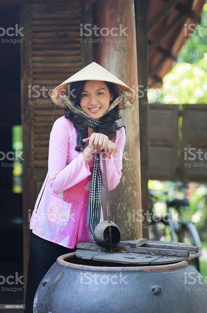 Young vietnamese woman wearing traditional Vietnamese dress stock photo