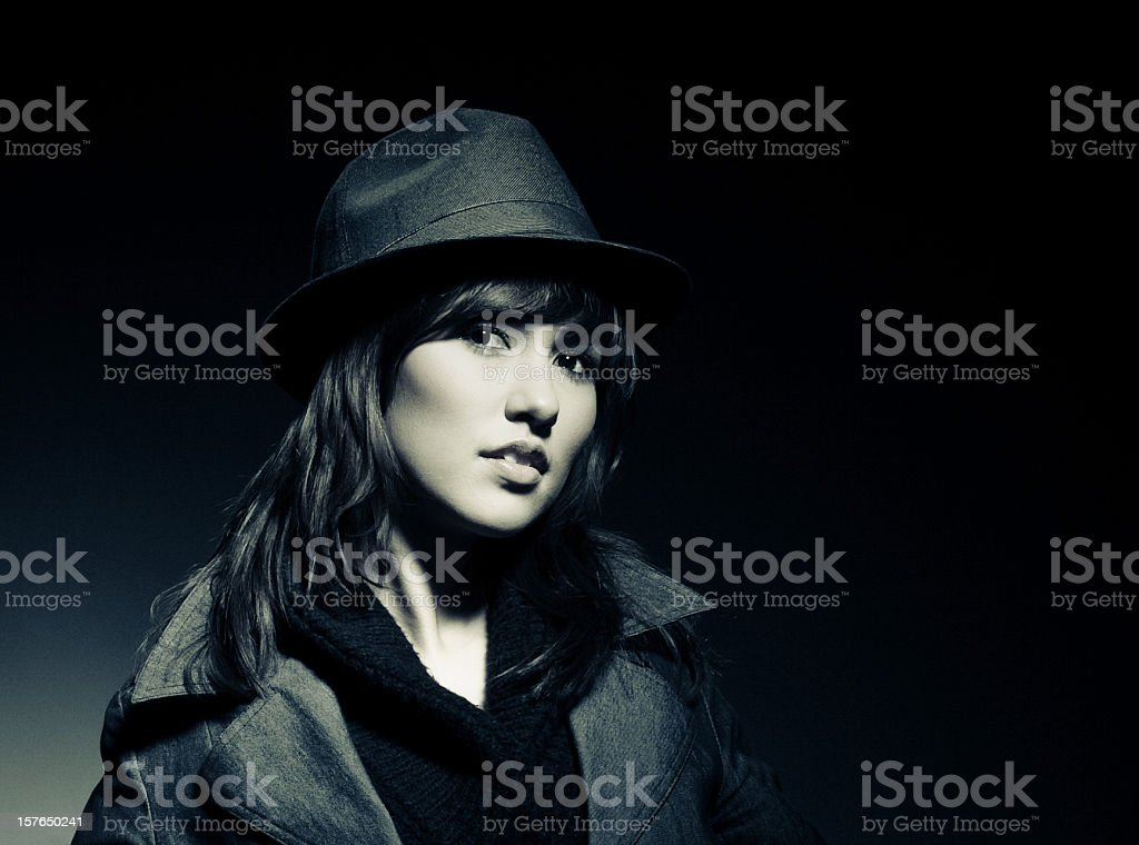young vintage girl stock photo