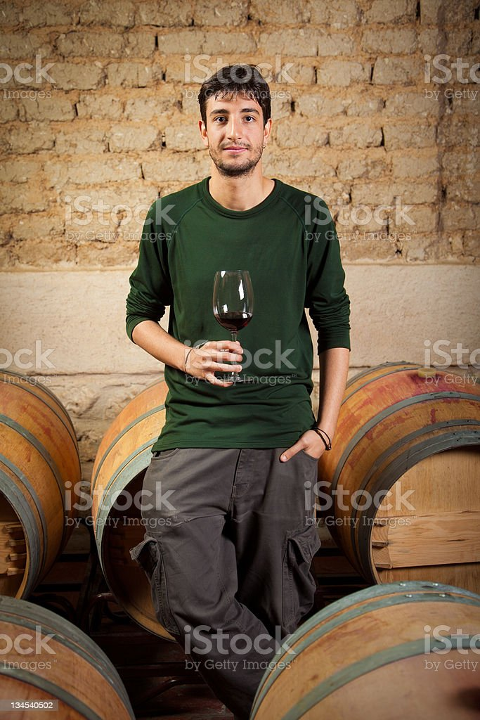 Young vintner tasting red wine in an old cellar stock photo