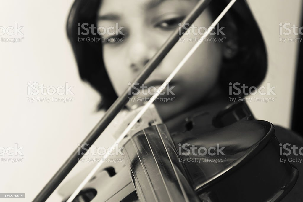 young violinist with old and valuable violin royalty-free stock photo