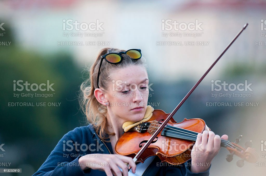 Young violist performes stock photo