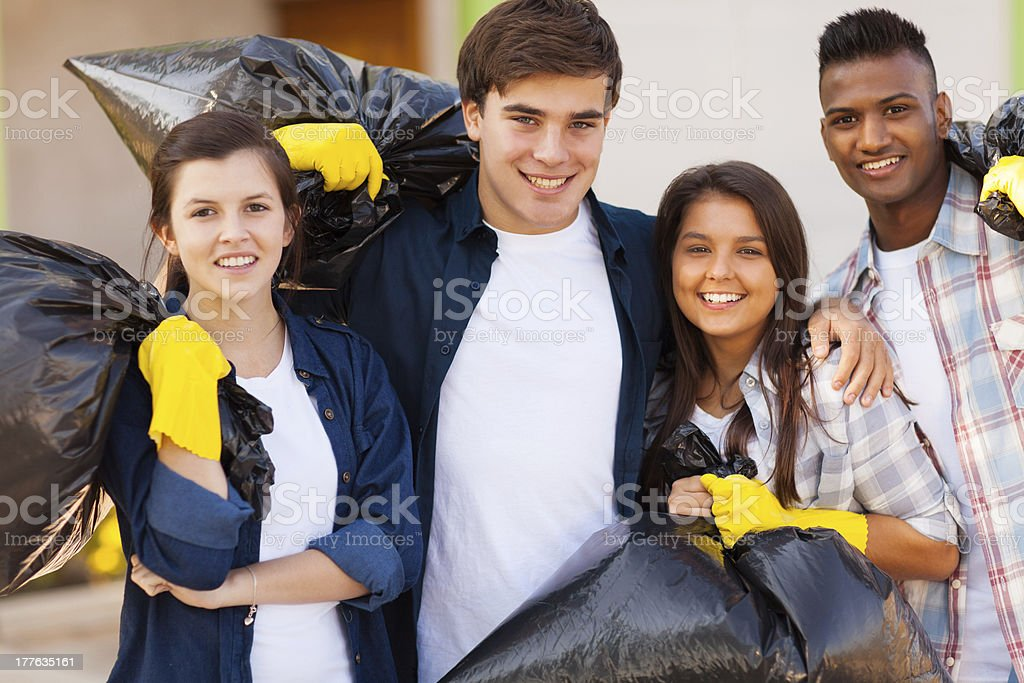 young volunteers with garbage bag royalty-free stock photo