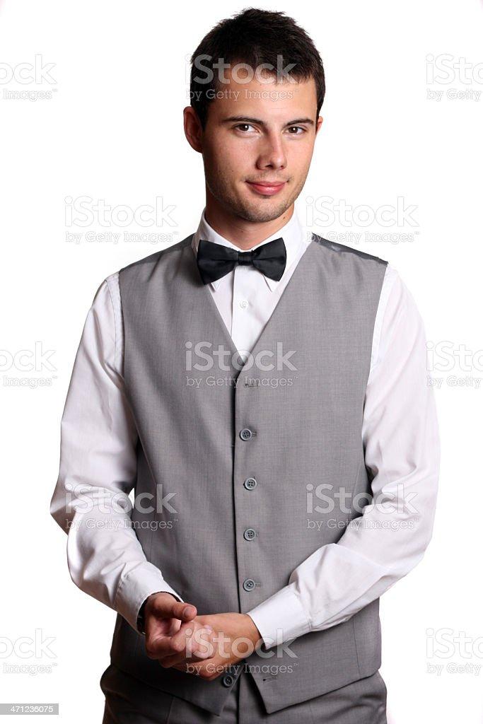 Young waiter isolated on white background royalty-free stock photo