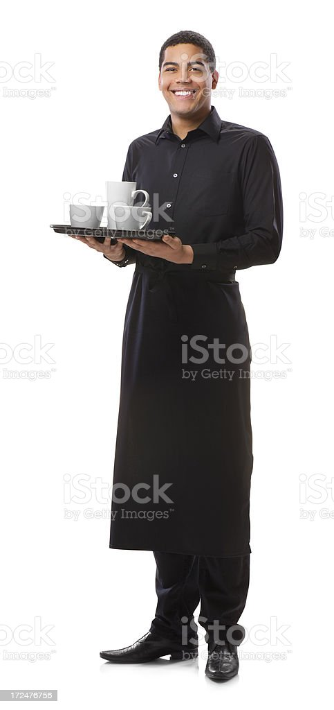 young waiter  isolated on white royalty-free stock photo