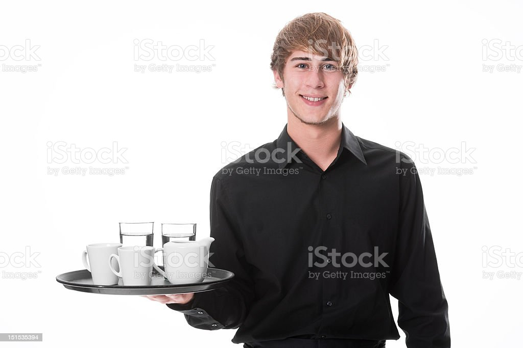 Young waiter with drinks royalty-free stock photo