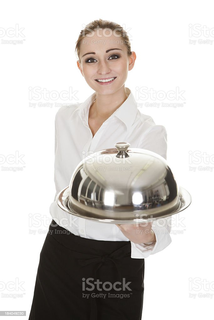 Young Waitress Holding Tray And Lid stock photo