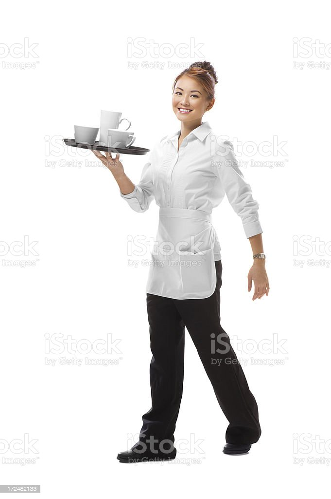 young waitress walking with a tray of cups royalty-free stock photo