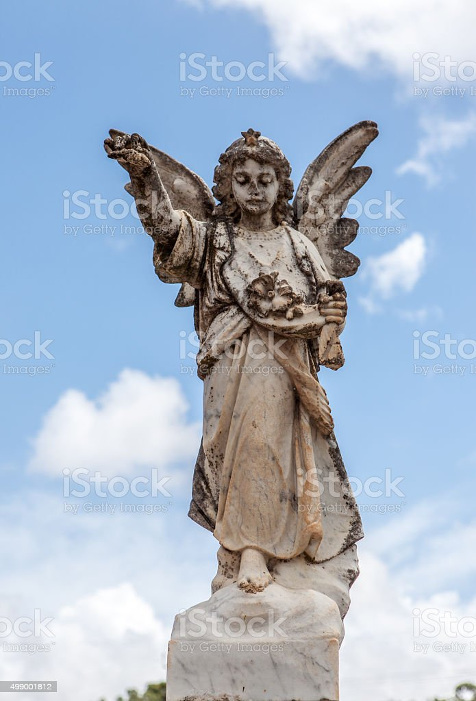 Young Weathered Stone Angel stock photo