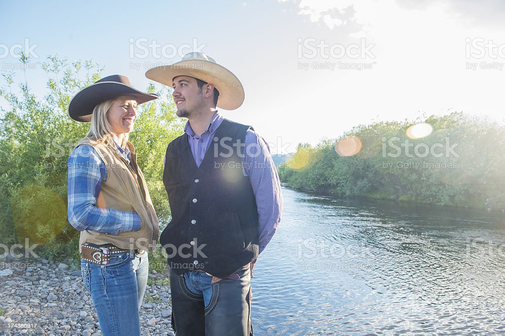 Young Western Couple in Montana stock photo