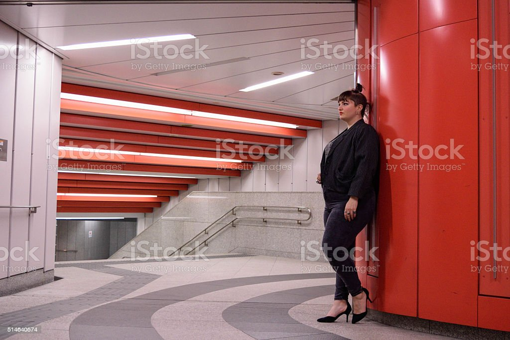 Young White Female Waiting For Someone stock photo