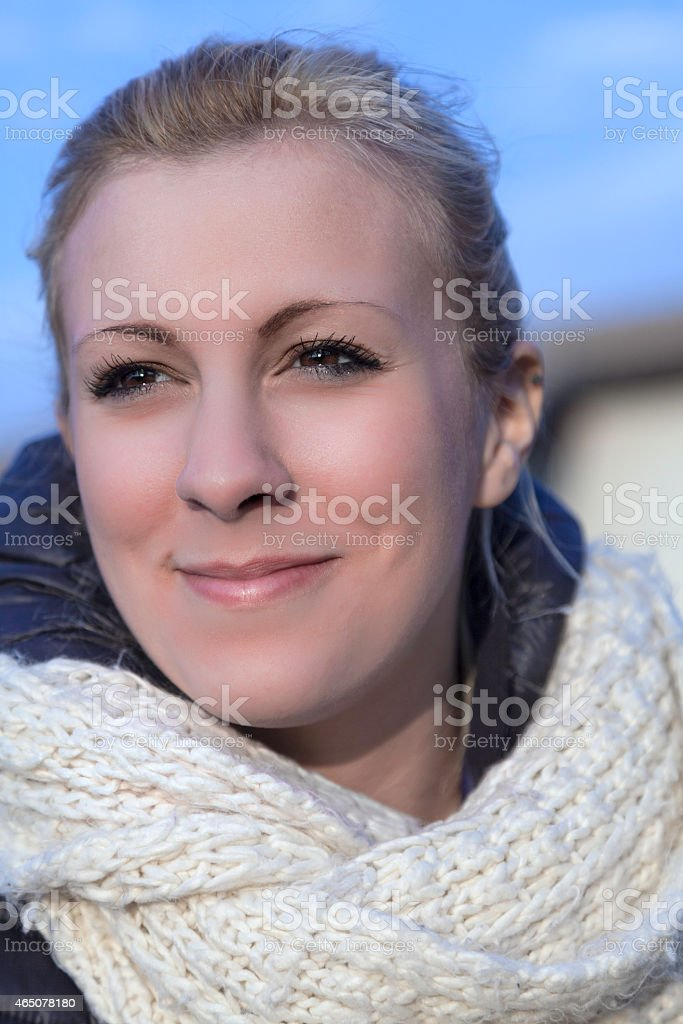 Young white girl portrait. Color photo stock photo