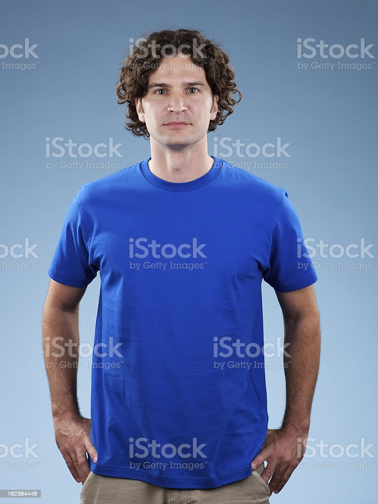 Young white male wearing blue shirt stock photo
