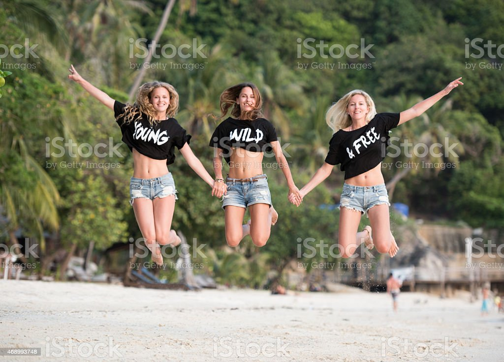 Young Wild and Free, Lifestyle Fashion at the Beach stock photo