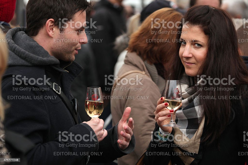 Young wine celebration at Saint Martin Day in Prague stock photo