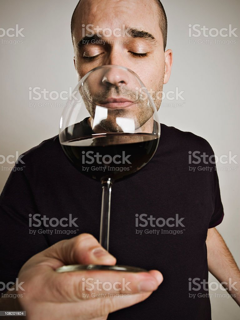 Young wine lover stock photo
