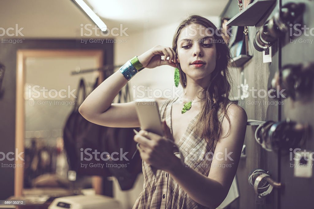 Young woman advertising jewelry stock photo