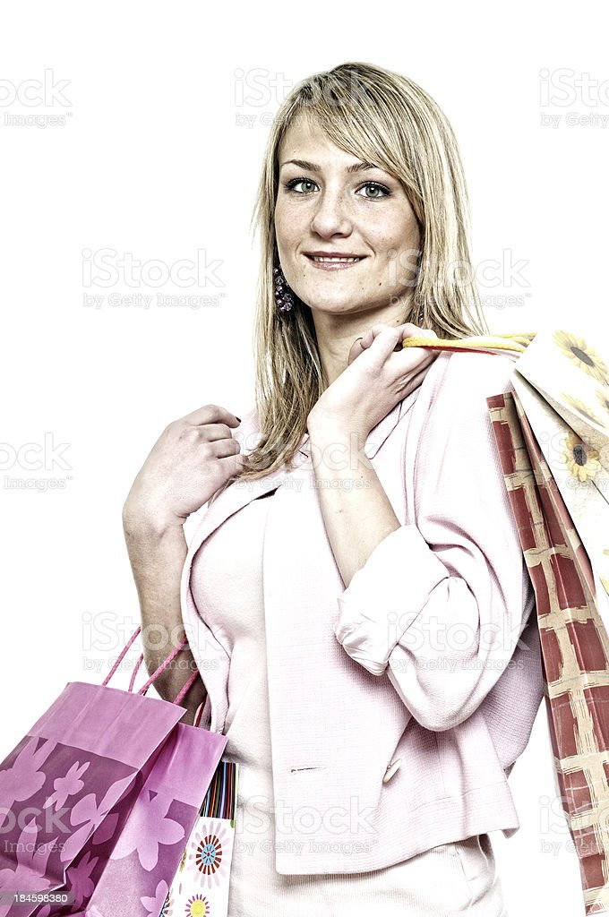 Young Woman after Shopping royalty-free stock photo