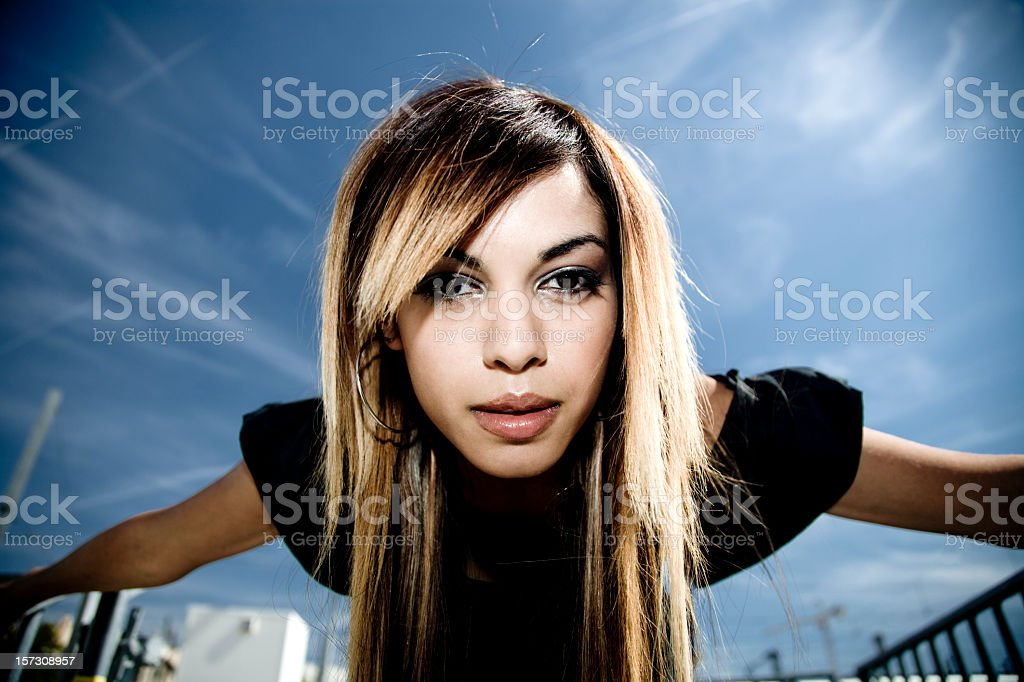 Young Woman against the Sky Portrait royalty-free stock photo