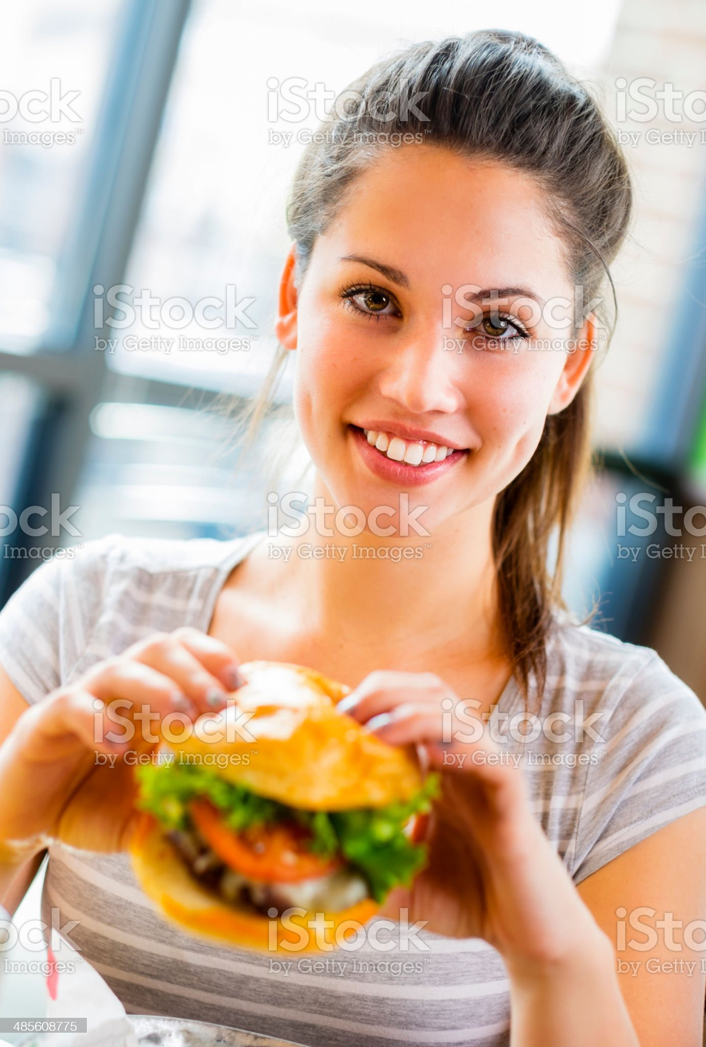 Young Woman and Burger royalty-free stock photo