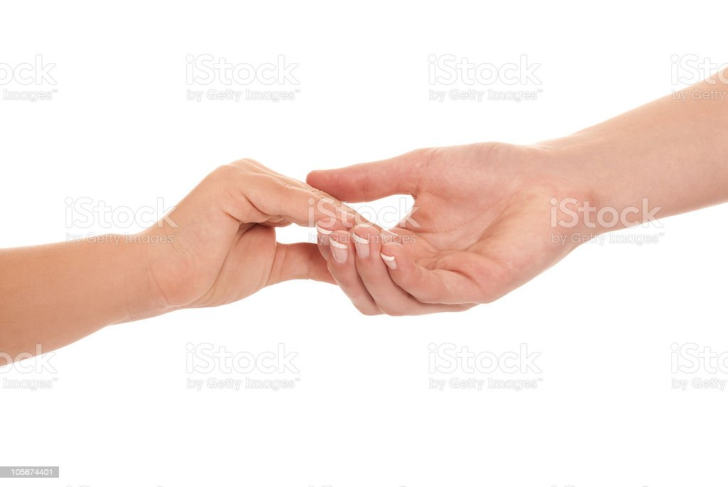 young woman and children girl handshake isolated on white background. royalty-free stock photo