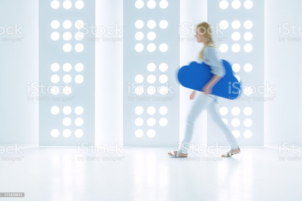Young woman and cloud computing concept stock photo