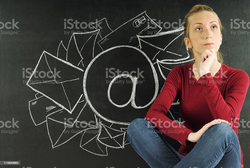 Young Woman and E-Mail Sketch royalty-free stock photo