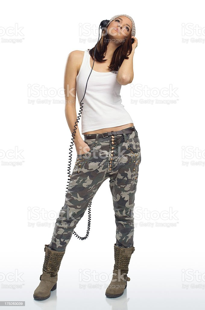 Young woman and headphones stock photo