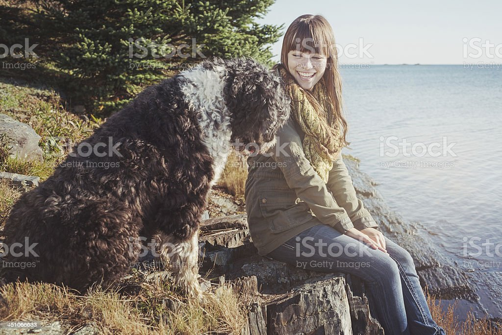 Young woman and her dog royalty-free stock photo