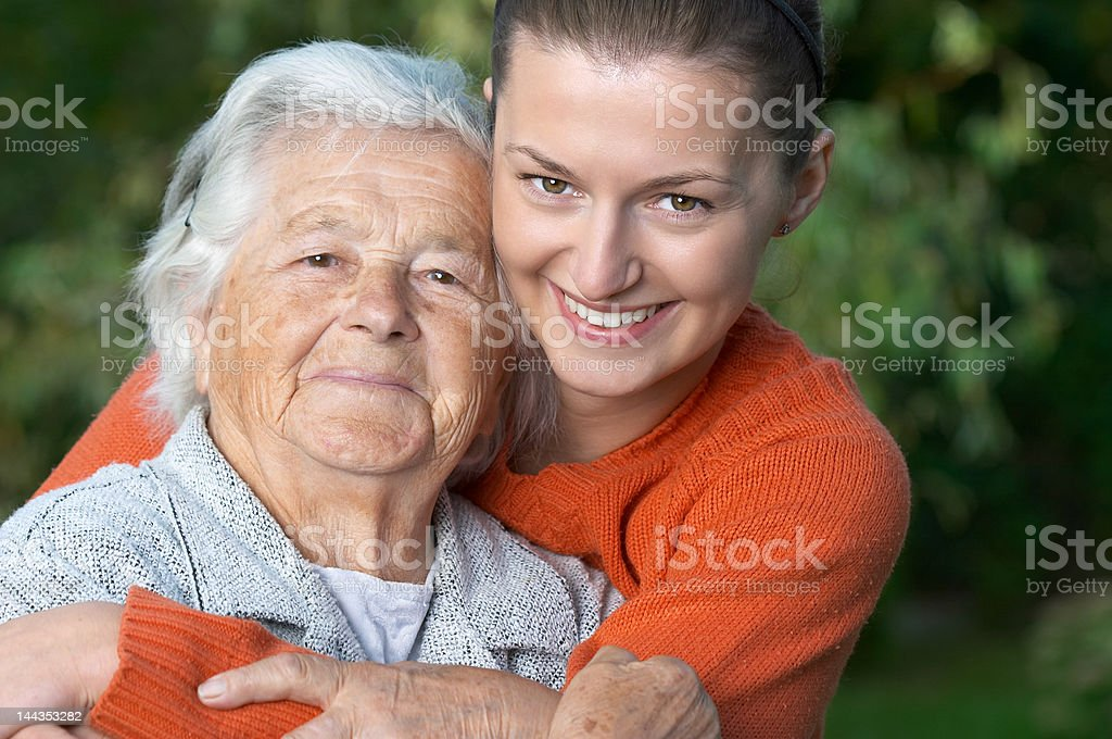 Young woman and her grandmother royalty-free stock photo
