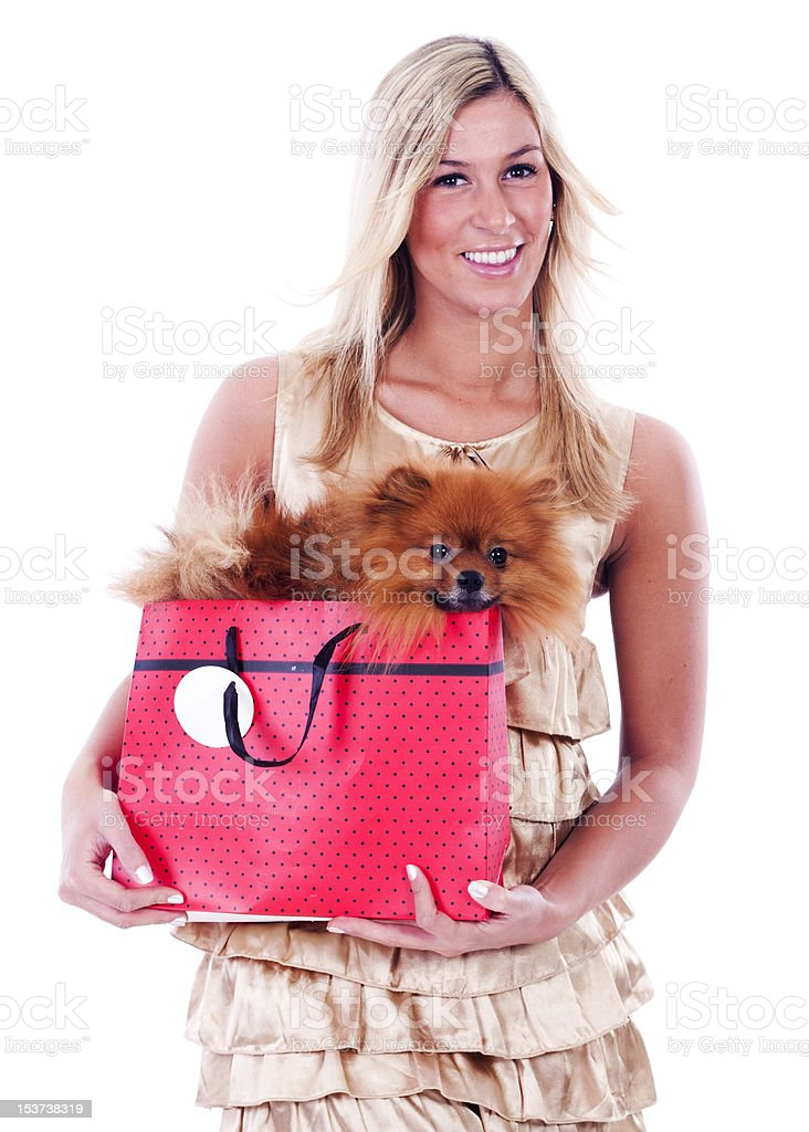 Young woman and her Pomeranian royalty-free stock photo