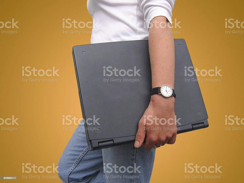 young woman and laptop royalty-free stock photo