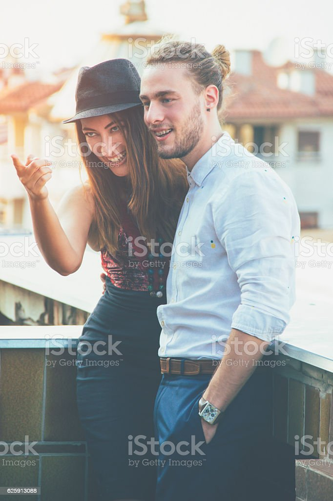young woman and man flirting,hipster style stock photo