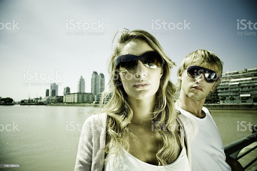 Young Woman and Man in Front of Buenos Aires Skyline royalty-free stock photo