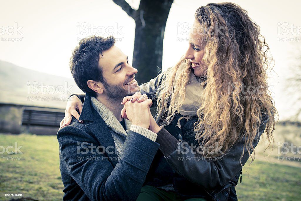 Young woman and man in love royalty-free stock photo