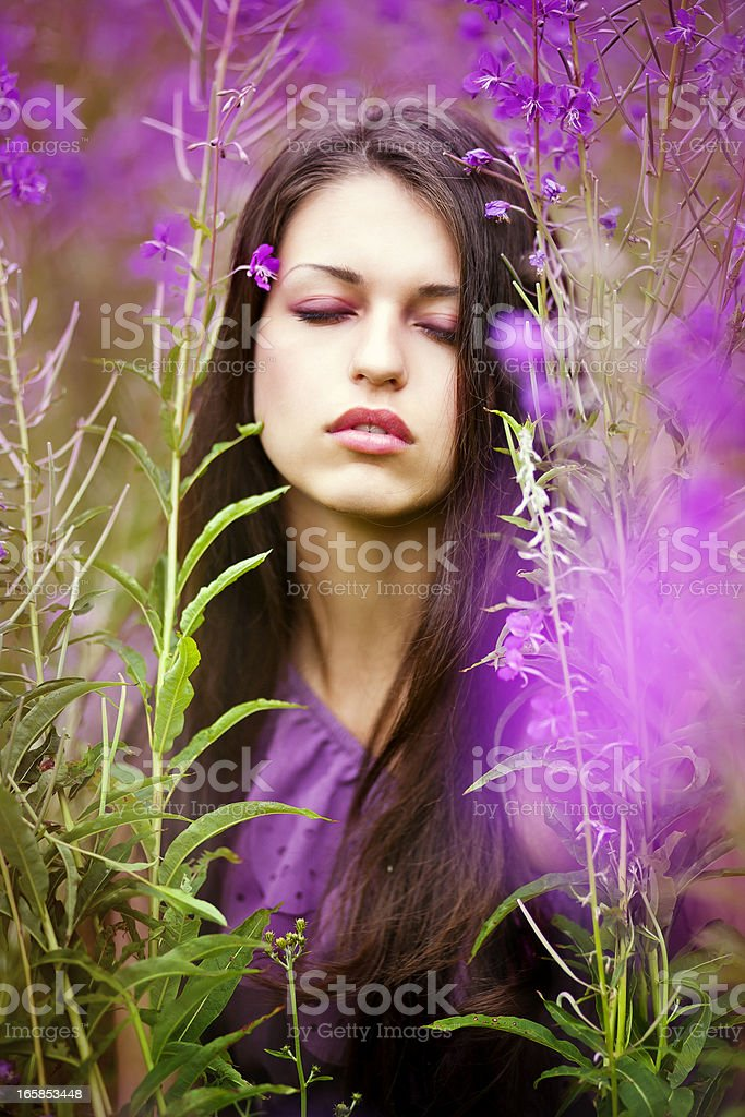 Young woman and purple flowers royalty-free stock photo
