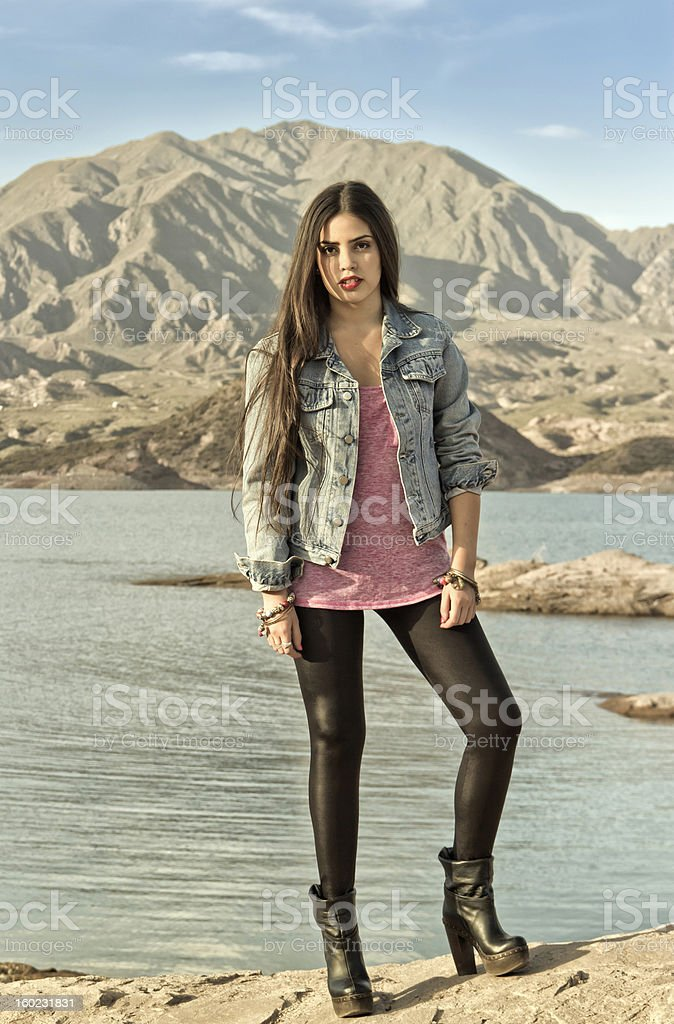 Young woman and the lake royalty-free stock photo