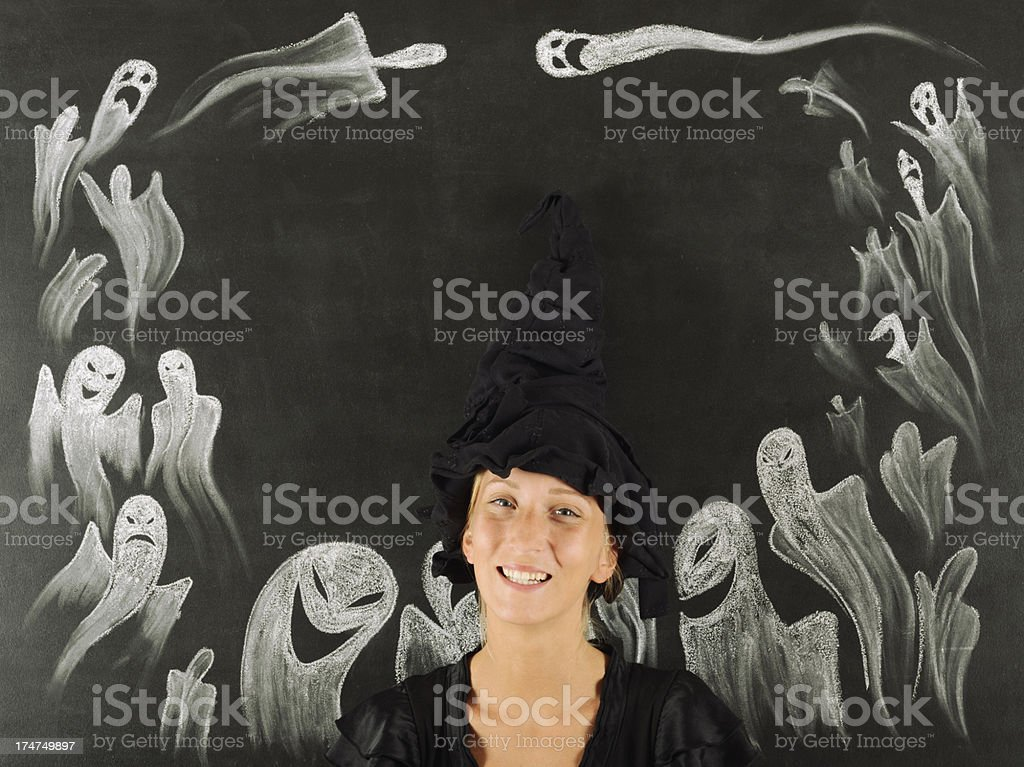 Young Woman andCarnival Ghosts royalty-free stock photo
