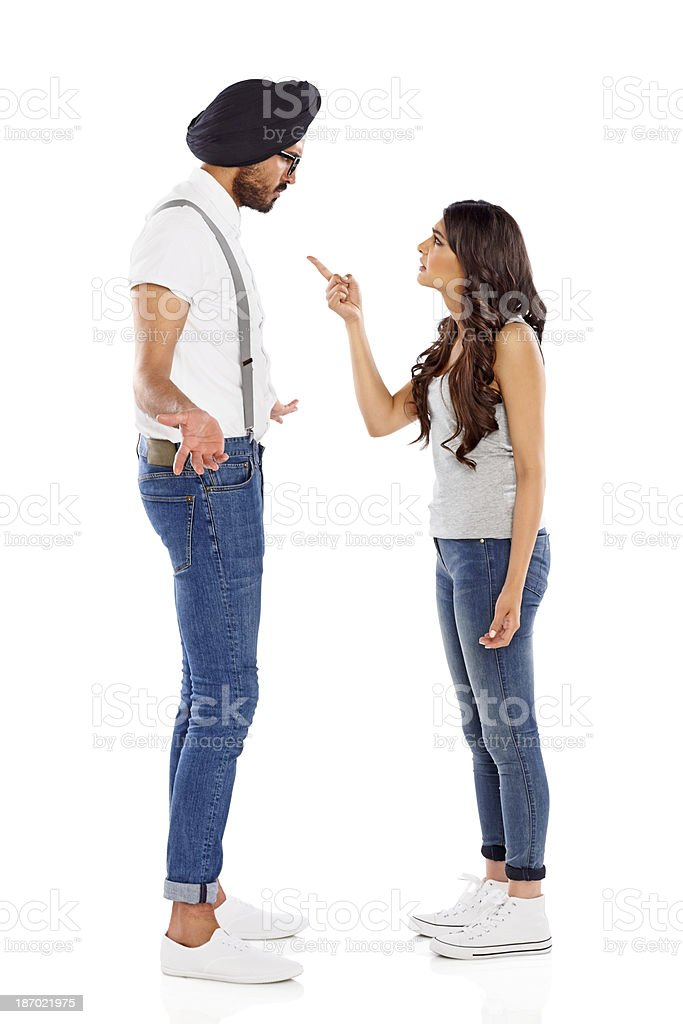Young woman arguing with her boyfriend royalty-free stock photo
