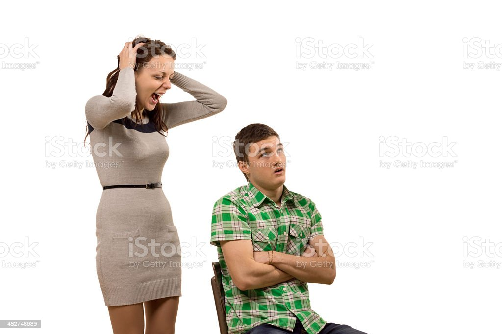 Young woman arguing with her boyfriend stock photo