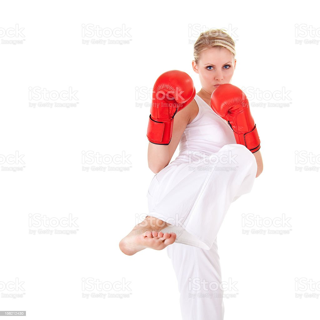 Young woman as fighter stock photo