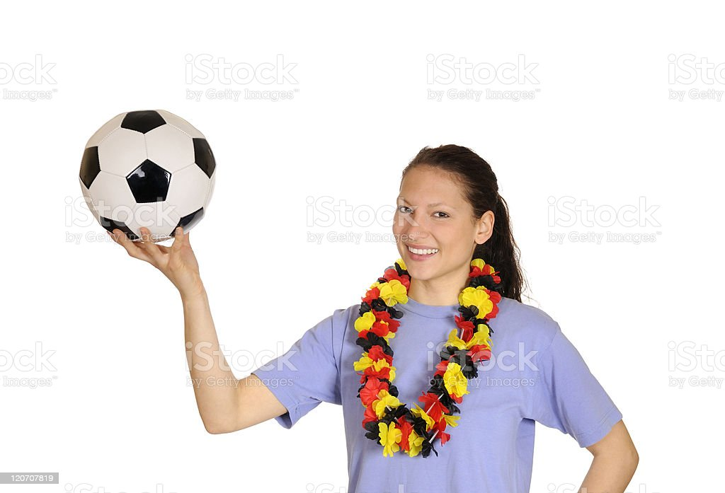 young woman as soccer fan royalty-free stock photo